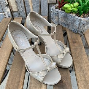 Tod's Taupe Heel Wedge Ankle Strap Sz 6 S1015